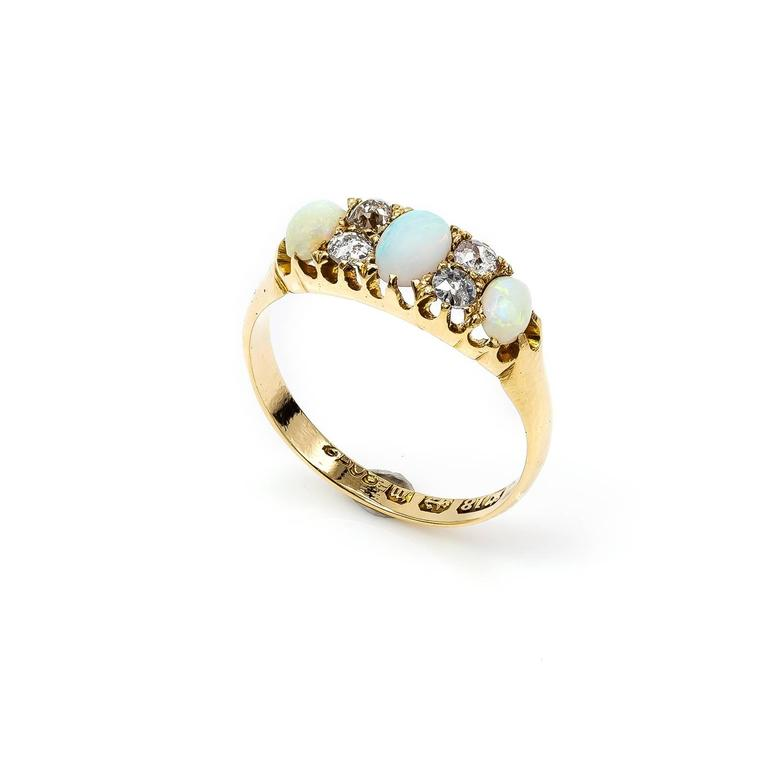 Antique Victorian Opal Diamond Yellow Gold Trilogy Ring For Sale 2