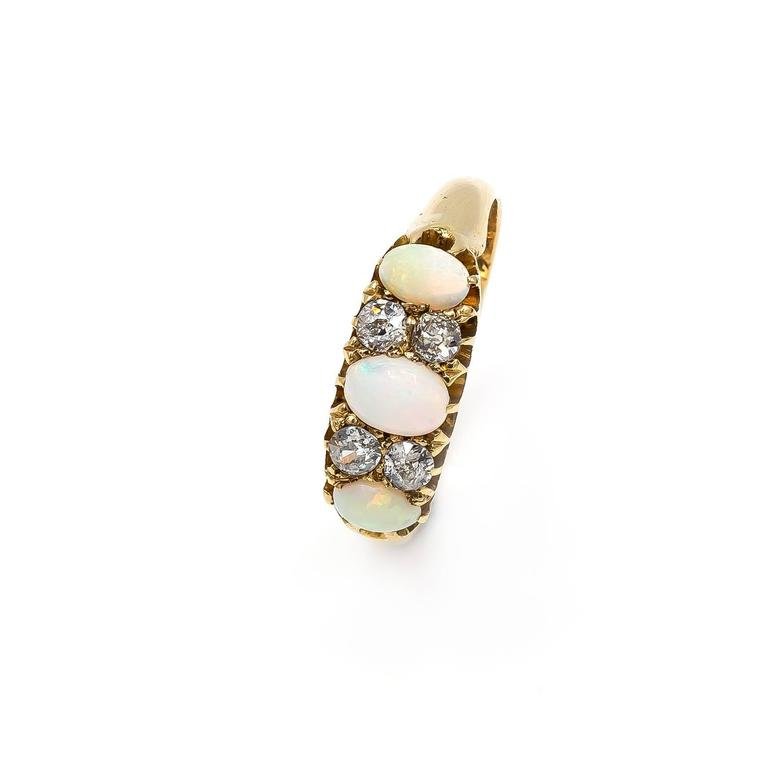 Antique Victorian Opal Diamond Yellow Gold Trilogy Ring For Sale 3