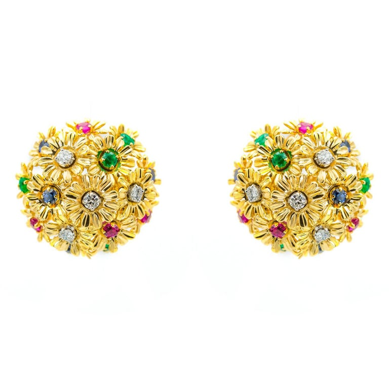 Tremblant Yellow Gold Flower Earrings with Diamonds Rubies Emeralds and Sapphire