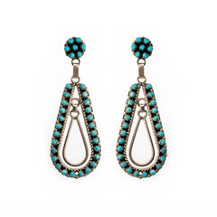Turquoise and Sterling Silver Dangling Hoops with Post Backs