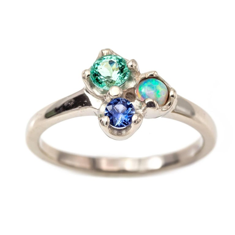 sapphire green beryl and opal ring in white gold for sale