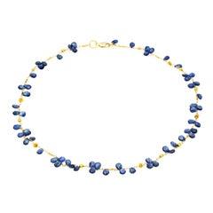 Blue Sapphire Briolette Necklace in 18 Karat Yellow Gold