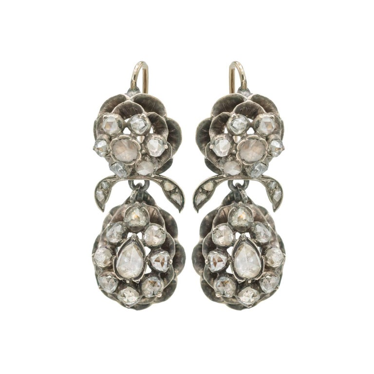 Georgian Boho Old Rose Cut Diamond and Silver Floral Drop Earrings