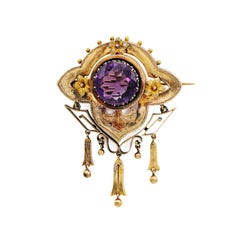 Victorian Amethyst and Rose Gold Brooch with Flowers and Tassels