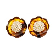 """Le Gi"" Amber Flower Clip and Post Earrings in 18 Karat Gold with 74 Pearls"