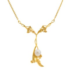 Antique Necklace Yellow Gold Art Nouveau Style and Natural Pearl