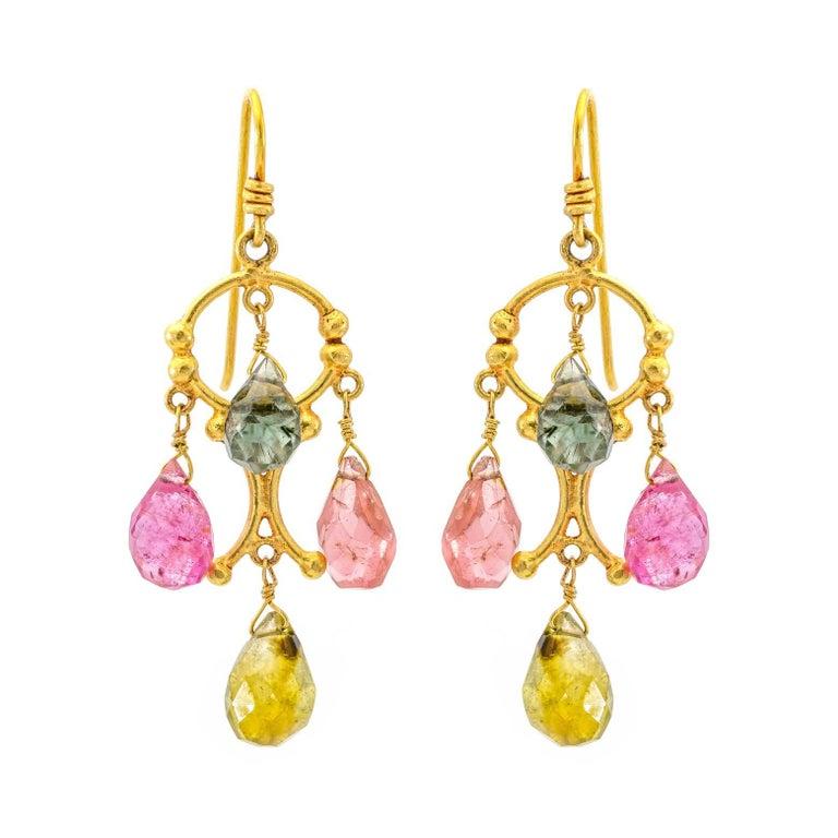 Tourmaline Chandelier Earrings in 18 Karat Gold
