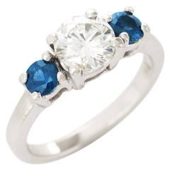 Sapphire Diamond Platinum Three-Stone Ring