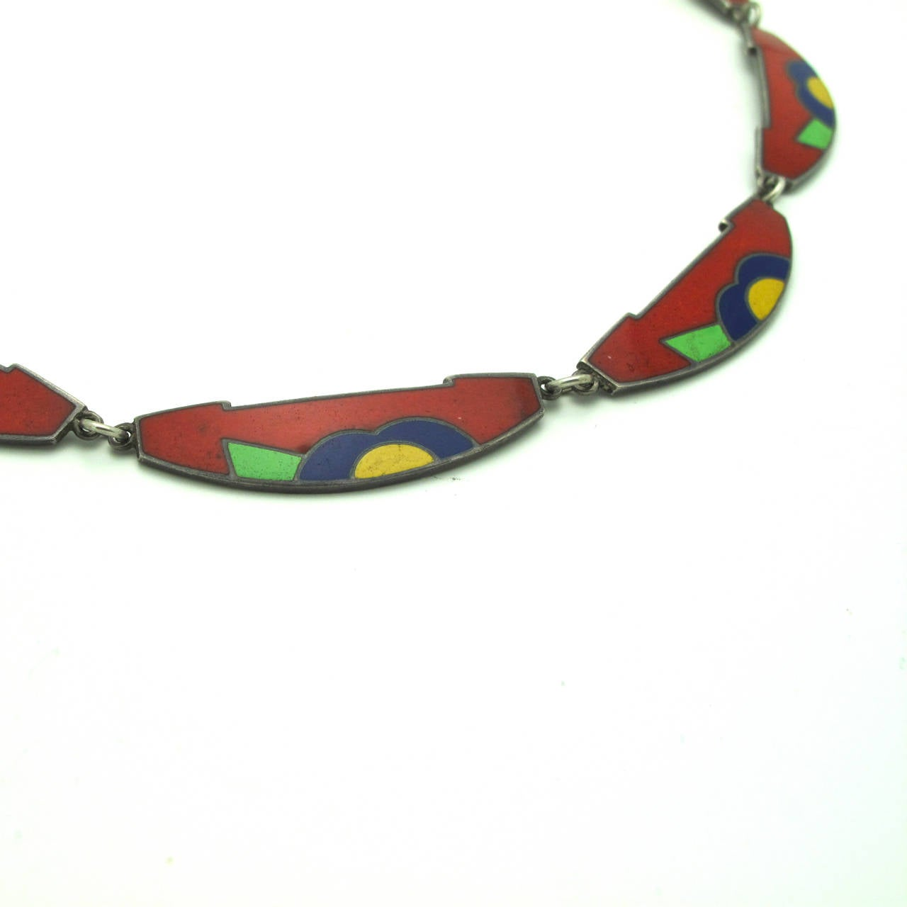 Arts and Crafts Danish Enamel over Silver Necklace For Sale