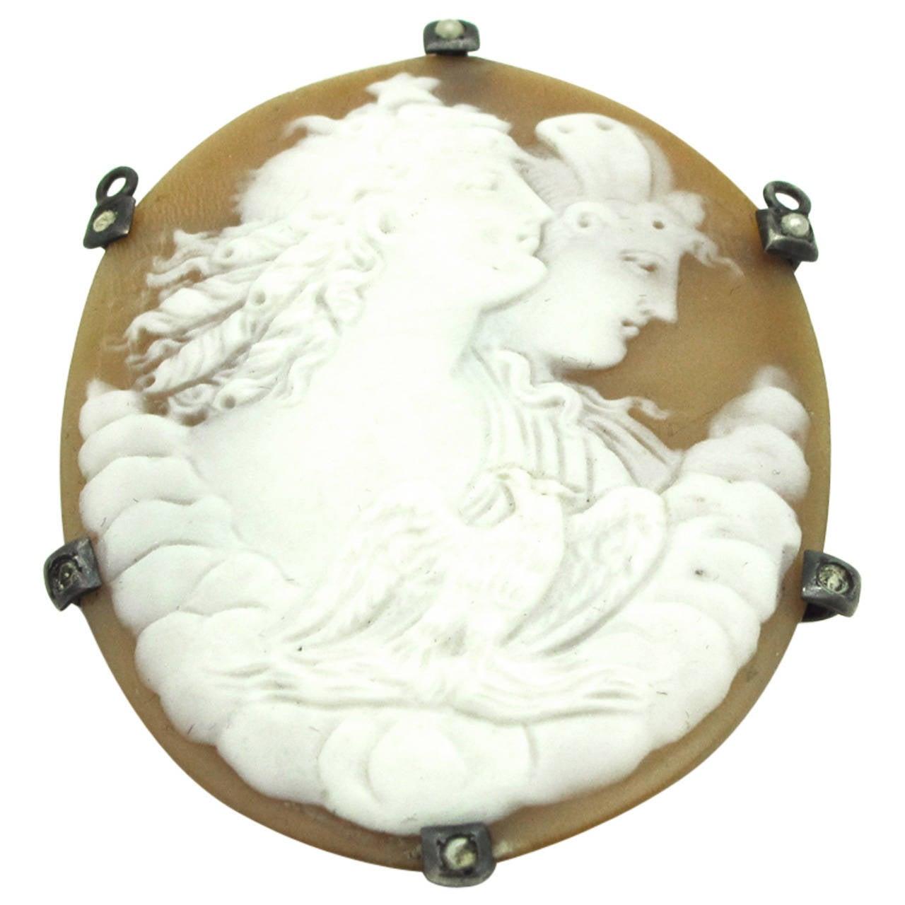 Victorian Mythological Cameo Silver Pin Pendant
