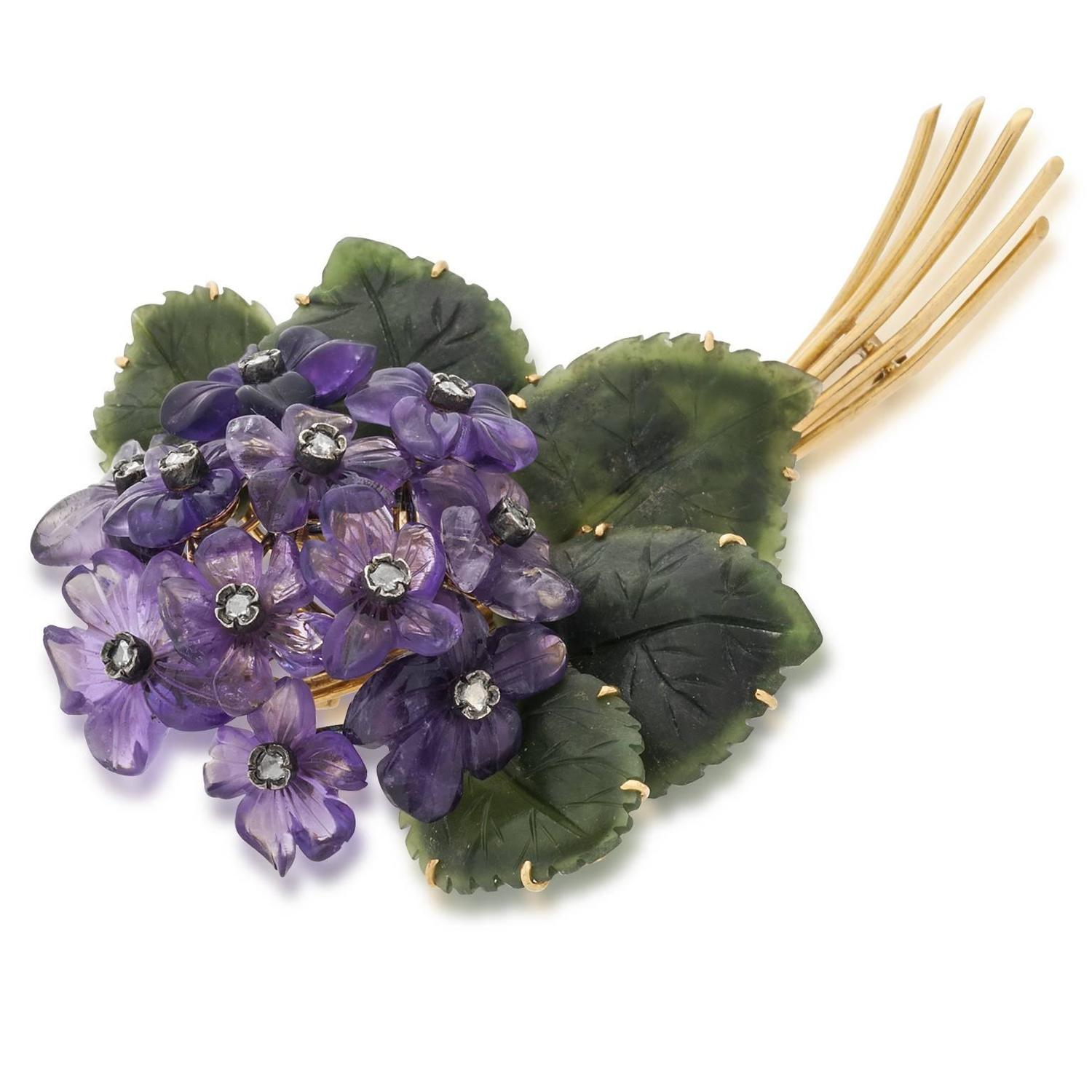 Jade Amethyst Diamond Gold Floral Pin at 1stdibs