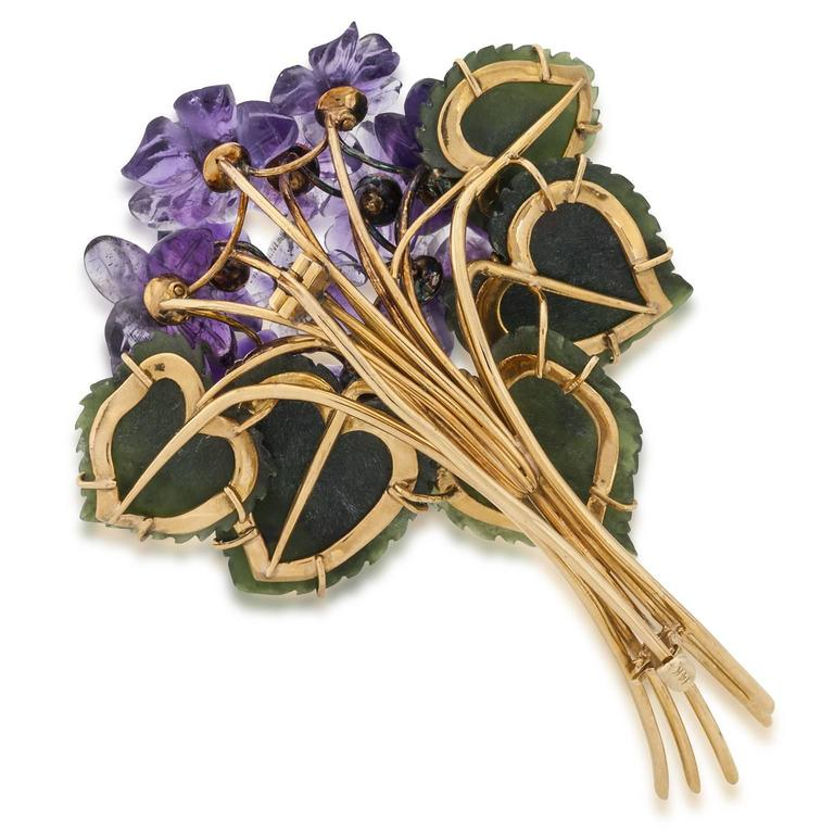 Jade Amethyst Diamond Gold Floral Pin 3