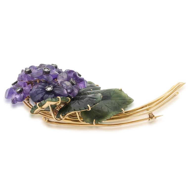Jade Amethyst Diamond Gold Floral Pin 2