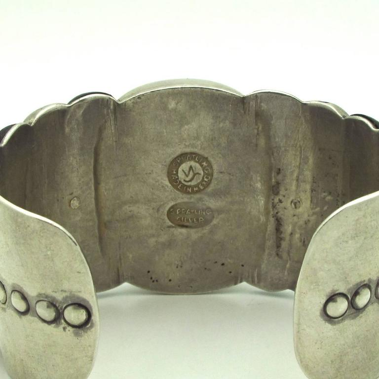 Modernist Spratling Native American Style Rosewood and Sterling Silver Cuff For Sale