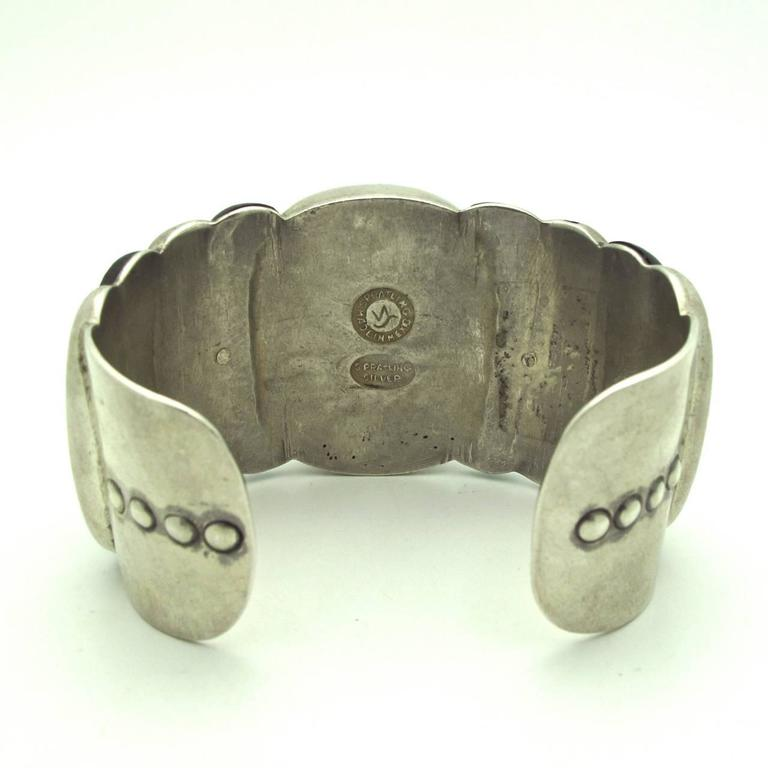 Spratling Native American Style Rosewood and Sterling Silver Cuff In Excellent Condition For Sale In Berkeley, CA