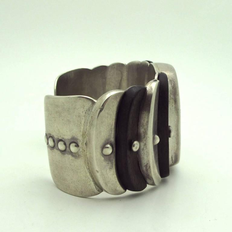 Women's Spratling Native American Style Rosewood and Sterling Silver Cuff For Sale