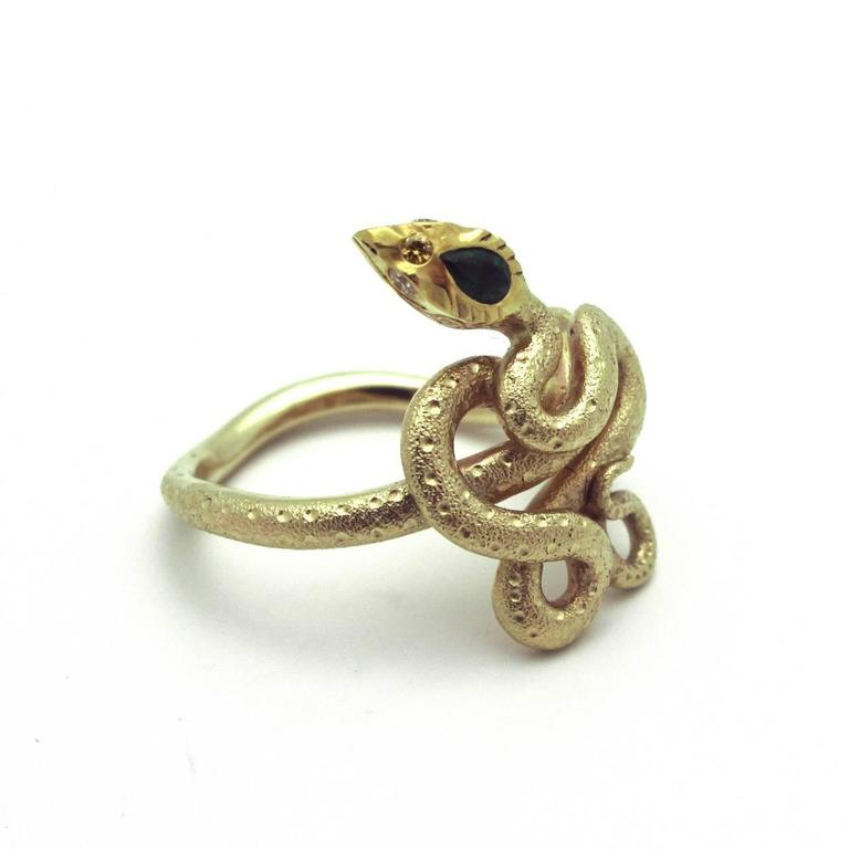 Emerald Diamond Gold Snake Ring 2