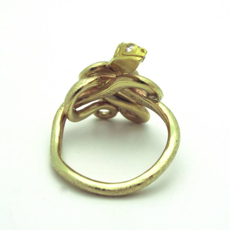 Emerald Diamond Gold Snake Ring 3