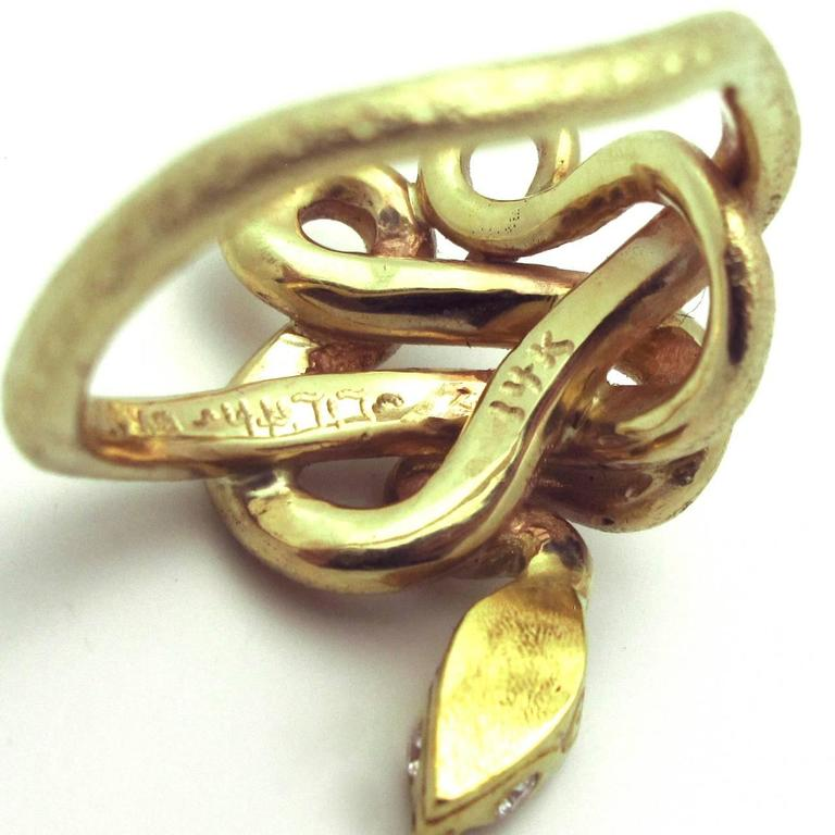 Emerald Diamond Gold Snake Ring 5