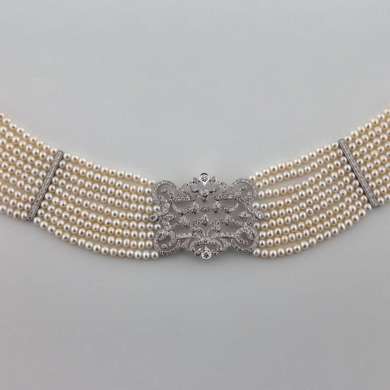 Pearl Diamond Gold Choker Necklace 5