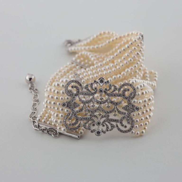 Pearl Diamond Gold Choker Necklace 6