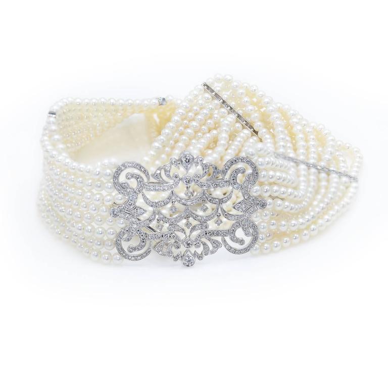 Pearl Diamond Gold Choker Necklace 3
