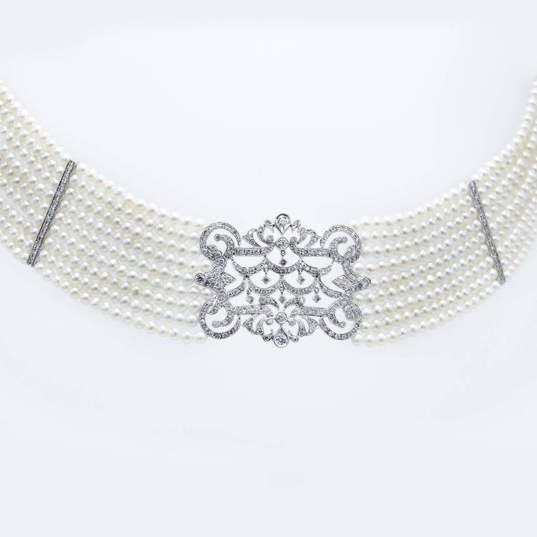 Pearl Diamond Gold Choker Necklace 2