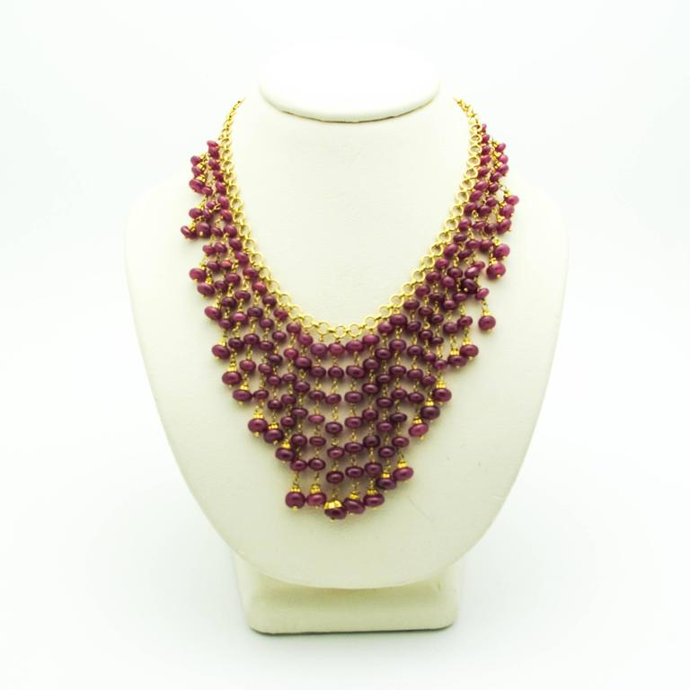 Ruby Gold Bead Necklace 3
