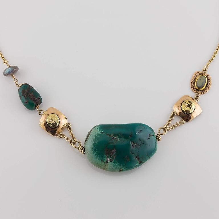 Big Green Turquoise Labradorite Two Color Gold Statement Necklace 3