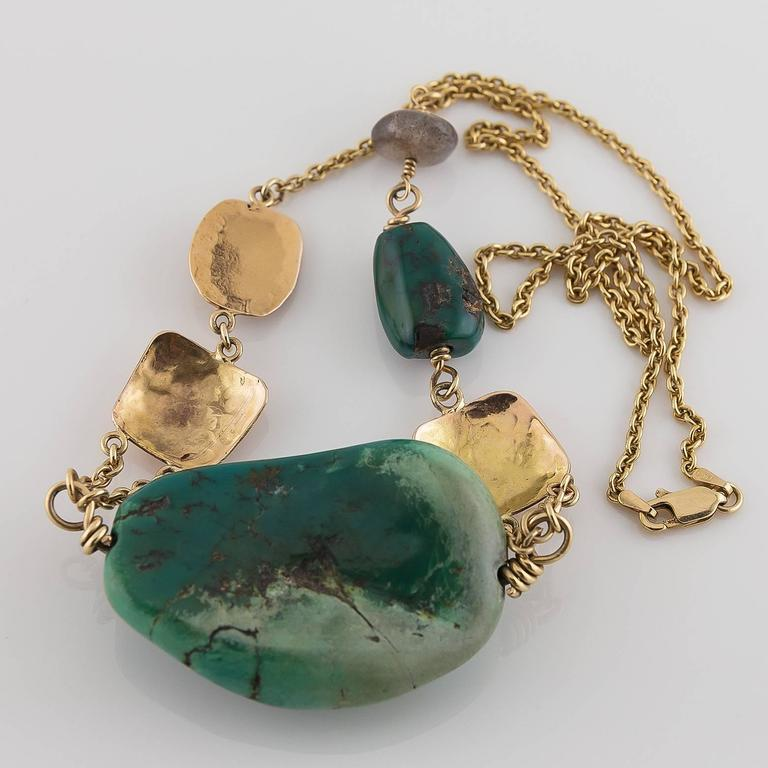 Big Green Turquoise Labradorite Two Color Gold Statement Necklace In Excellent Condition For Sale In Berkeley, CA