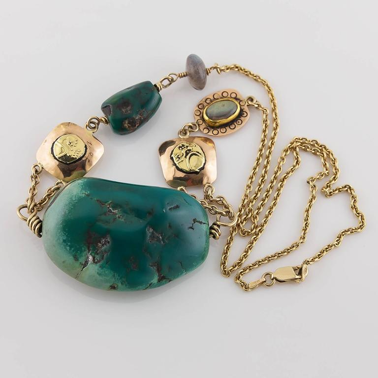 Women's Big Green Turquoise Labradorite Two Color Gold Statement Necklace For Sale