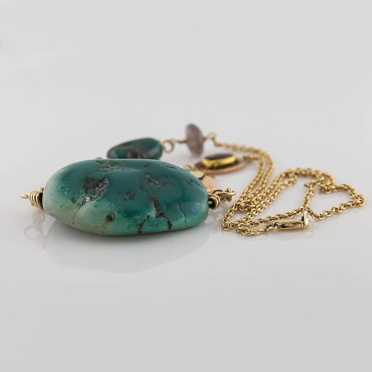 Big Green Turquoise Labradorite Two Color Gold Statement Necklace For Sale 1