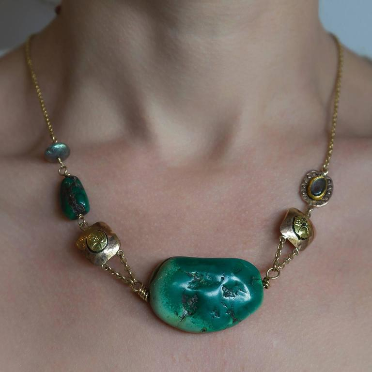 Big Green Turquoise Labradorite Two Color Gold Statement Necklace 2