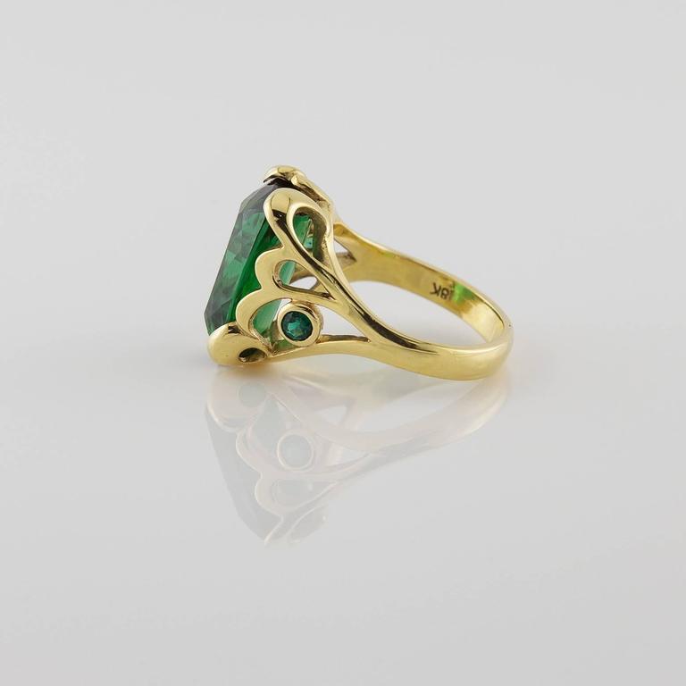 Deep Green Emerald Cut Tourmaline Gold Ring  5