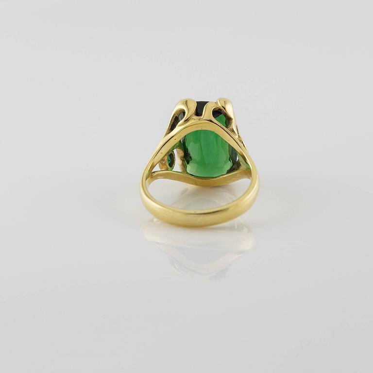 Deep Green Emerald Cut Tourmaline Gold Ring  For Sale 2