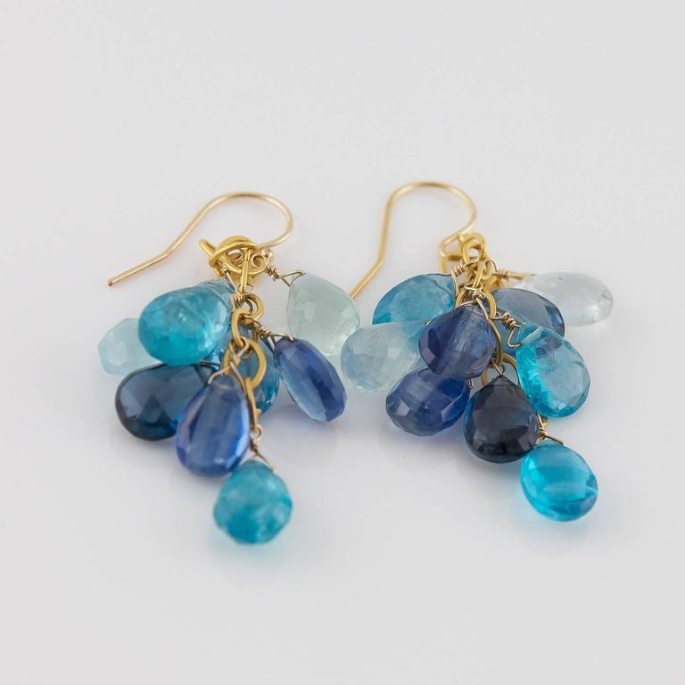 Miraculous and Sparkly! These multi-colored blue dangling beauties sparkle in almost every shade of blue showcasing aquamarines, kyanites, blue topaz, and apatites. The movement of these earrings dance below your ears and invite an air of
