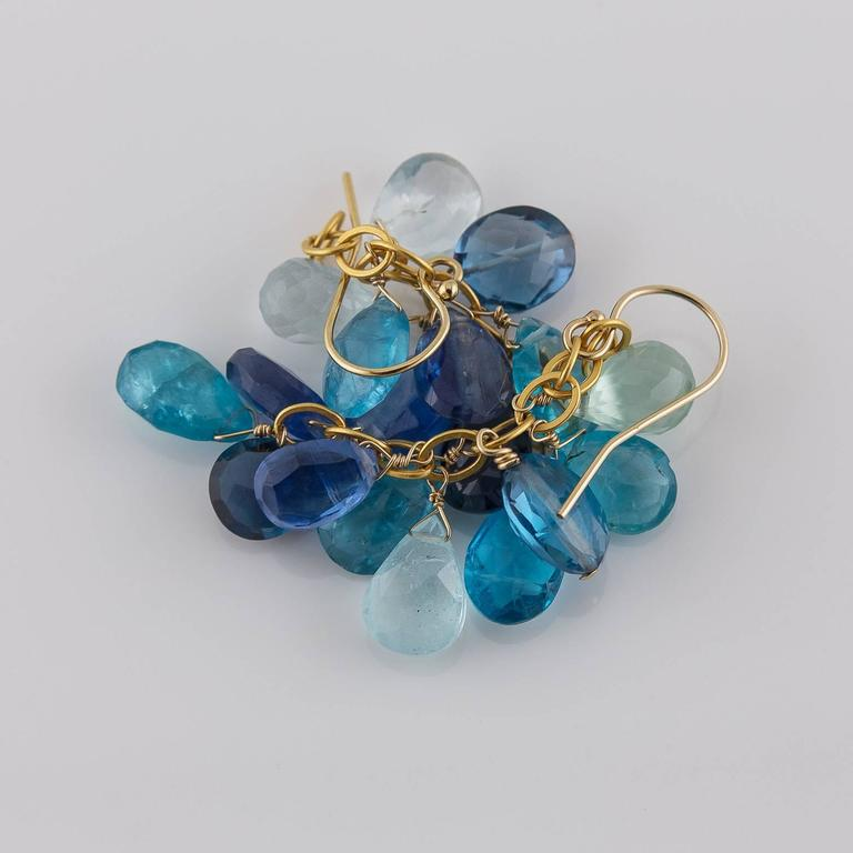 Bright Ocean Blue Aquamarine Blue Topaz Kyanite Apatite Briolette Earrings In Excellent Condition For Sale In Berkeley, CA