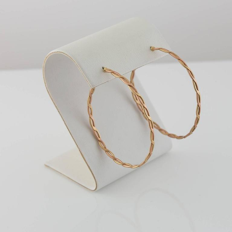 Contemporary Spiral Woven Braided Gold Hoop Earrings For Sale
