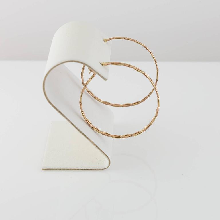 Spiral Woven Braided Gold Hoop Earrings In Excellent Condition For Sale In Berkeley, CA