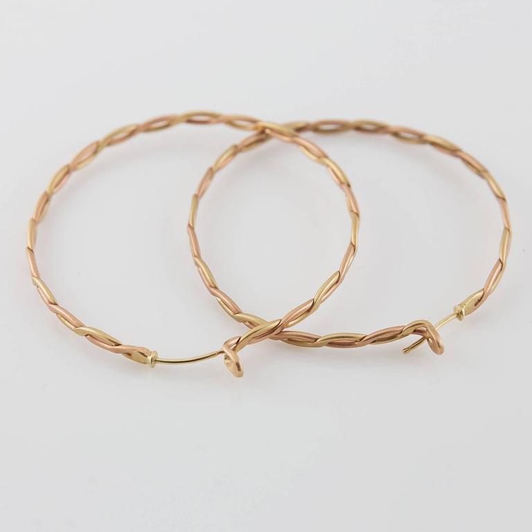 Women's Spiral Woven Braided Gold Hoop Earrings For Sale