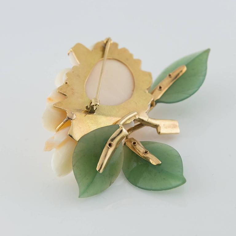 Carved Coral Jade Gold Flower Pin 2