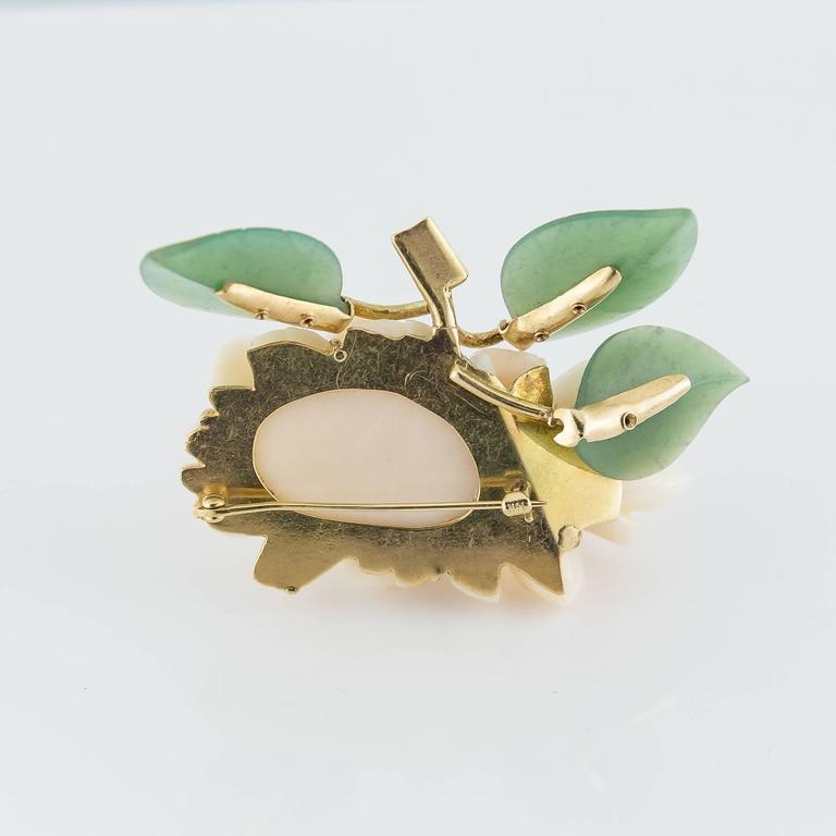 Carved Coral Jade Gold Flower Pin 3