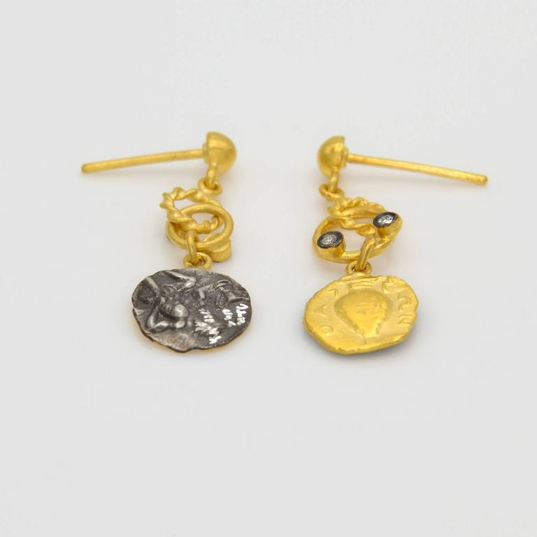 Diamond gold stamped coin drop earrings with vases and for Diamond stamp on jewelry