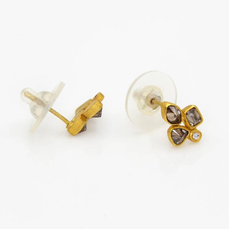Chocolat Cognac Diamond Gold Stud Earrings in an Organic Fleur De Lys Design 3