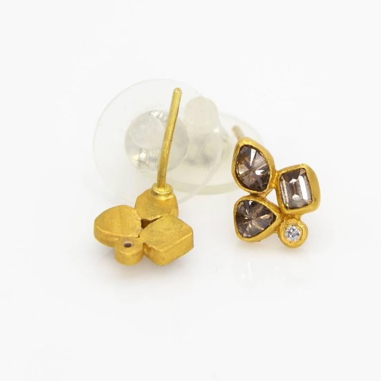 Chocolat Cognac Diamond Gold Stud Earrings in an Organic Fleur De Lys Design 4