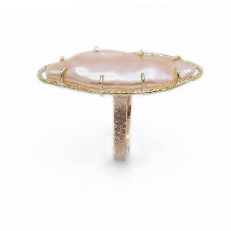 Peach Freshwater Pearl Two Color Gold Ring 2