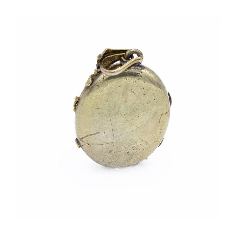 Antique Multicolor Gold Platinum Locket with Band of Flowers and Leaves 3