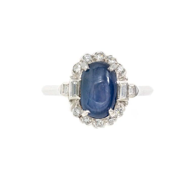 Art Deco Style Star Sapphire Diamond Platinum Engagement Ring