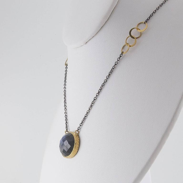 Modern Mixed Metal Rose Cut Labradorite Oxidized Sterling Gold Necklace For Sale