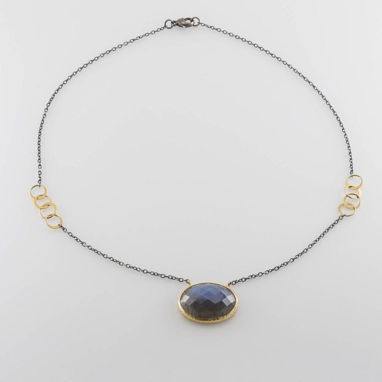 Women's Mixed Metal Rose Cut Labradorite Oxidized Sterling Gold Necklace For Sale